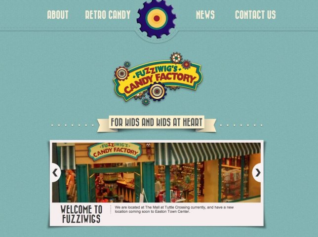 Website Design Screenshot of Fuzziwigs Candy Factory