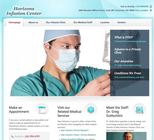 Website Design Screenshot of Horizons Infusion Center