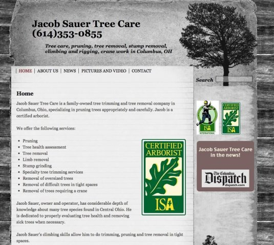 Website Design Screenshot of Jacob Sauer Tree Care