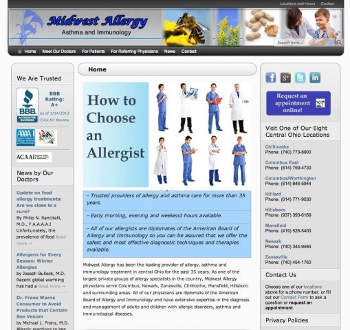 Website Design Screenshot of Midwest Allergy