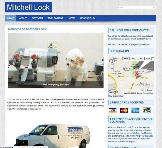 Website Design Screenshot of Mitchell Lock
