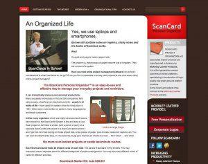 Website Design Screenshot of ScanCard
