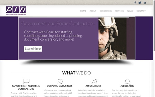 Website Design Screenshot of Pearl Interactive Network