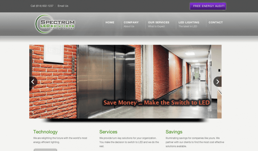 Website Design Screenshot of LED Solutions