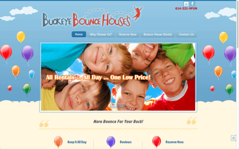 Website Design Screenshot of Buckeye Bounce Houses