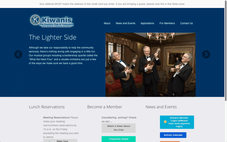 Website Design Screenshot of The Kiwanis Club of Columbus