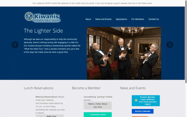 Website Design Screenshot of The Kiwanis Club of Columbus