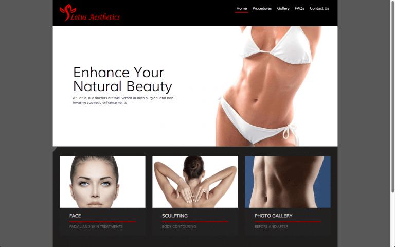 Website Design Screenshot of Lotus Aesthetics