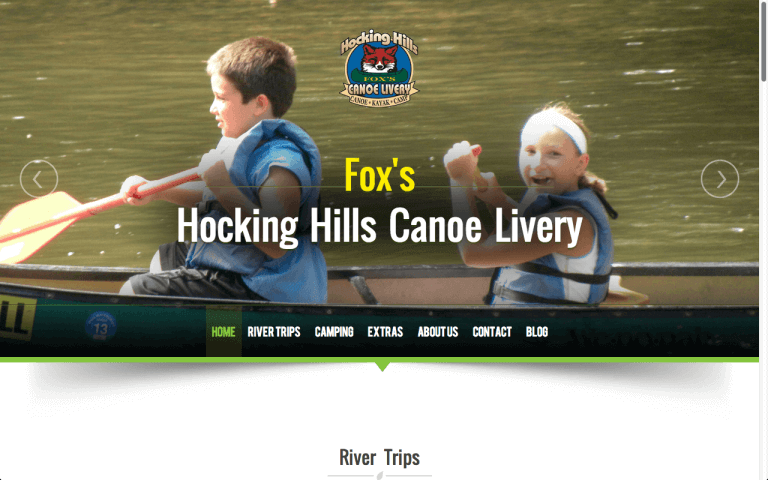Website Design After Screenshot of Hocking Hills Canoe Livery