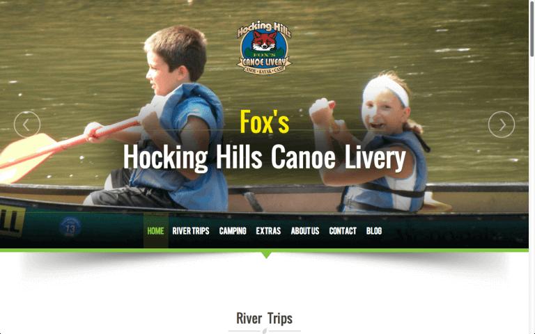 Website Design After Screenshot of Hocking Hills Canoe Livery