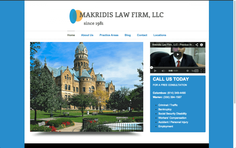 Website Design Screenshot of Makridis Law