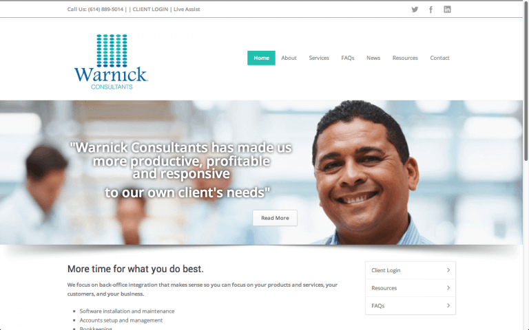 Website Design Screenshot of Warnick Consultants