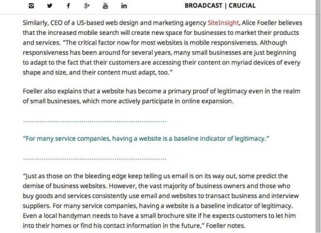 SiteInSight CEO quoted by tech blog