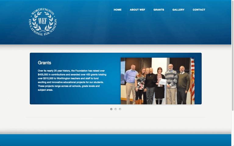 Website Design After Screenshot of Worthington Educational Foundation