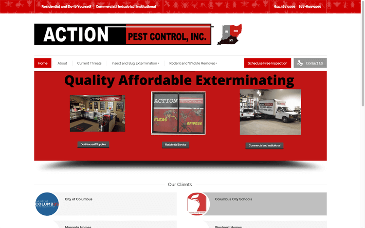 Website Design After Screenshot of Action Pest Control