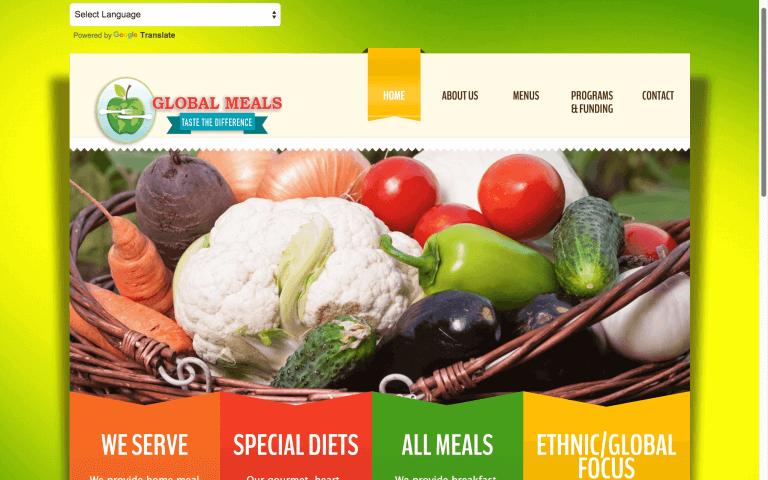 Website Design Screenshot of Global Meals
