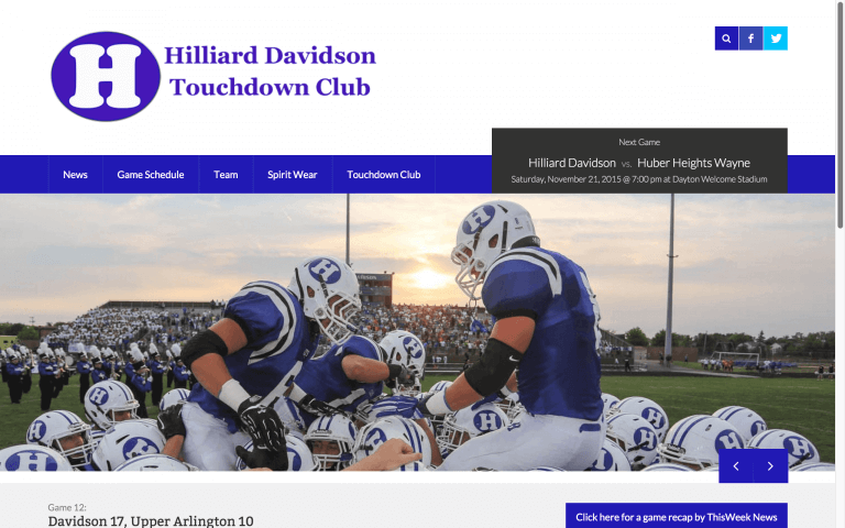 Website Design After Screenshot of Hilliard Davidson Touchdown Club