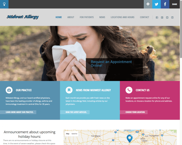 Website Design After Screenshot of Midwest Allergy