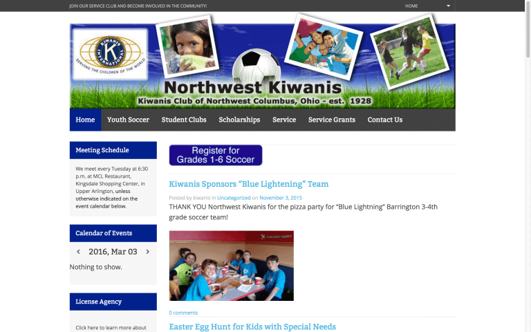 Website Design Screenshot of Northwest Kiwanis