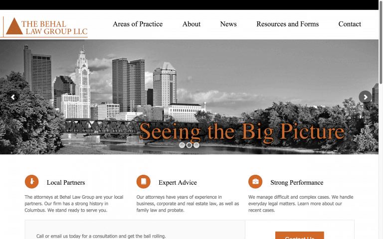 Website Design After Screenshot of The Behal Law Group