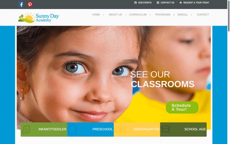 Website Design After Screenshot of Sunny Day Academy
