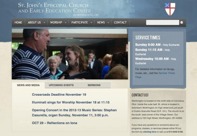 Website Design Screenshot of St. John's Episcopal Church