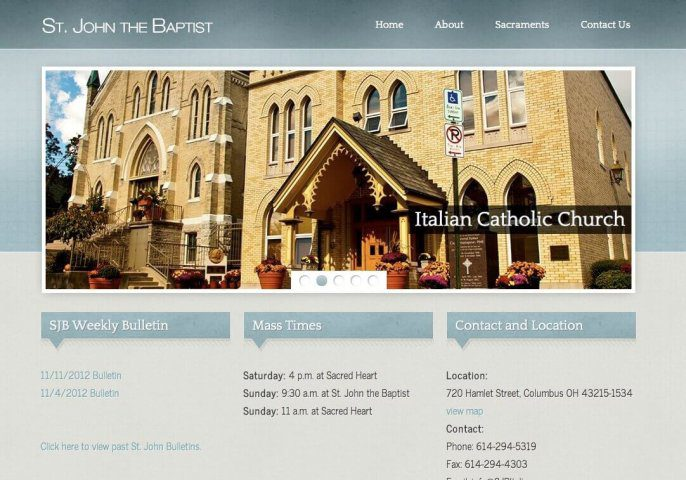 Website Design Screenshot of St. John the Baptist