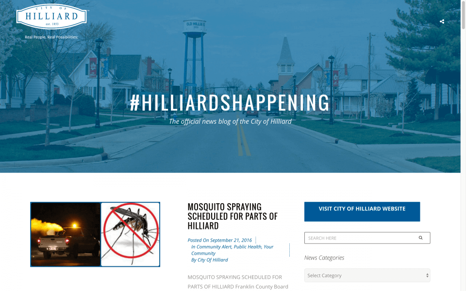 Website Design Screenshot of City of Hilliard
